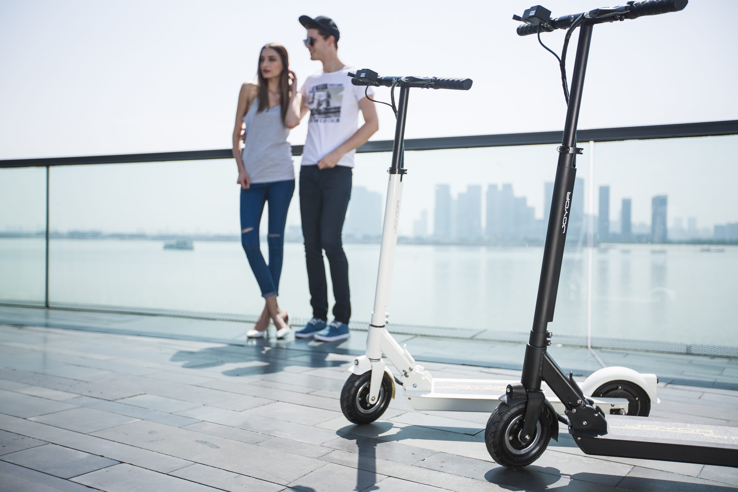 Joyor F1 Electric Scooter black and white 3